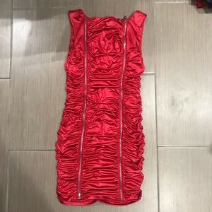 Red zip dress - eye catching!